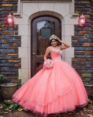 Vestido de fiesta de tul de novia sin mangas con abalorios vestido de quinceañera rosa_4