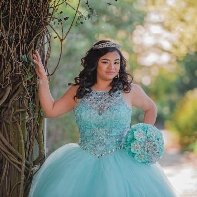 Ball Gown Jewel Sleeveless Beading Long Quinceanera Dress_5