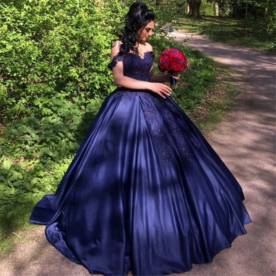 Ball Gown Navy Appliques Off the Shoulder Beading Quinceanera Dress_1