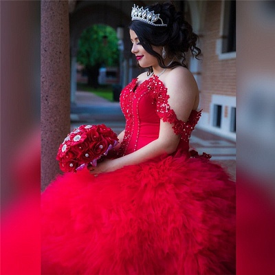 Off-the-shoulder Red Appliques Tulle Court Train Ruffles Quince Dresses_2