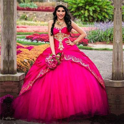 Vestido de fiesta sin mangas con apliques dorados sin mangas, vestido rosa de quinceañera