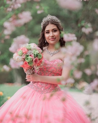Wonderful Tulle Sweetheart Strapless Beading Ball Gown Quinceanera Dress_3