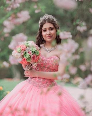 Vestido de fiesta de quinceañera con cuentas sin tirantes y maravilloso vestido de bola de novia de tul_3