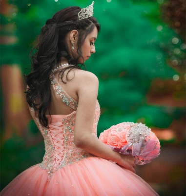 Exquisite Halter Tulle Beading Sleeveless Quinceanera Dress_3