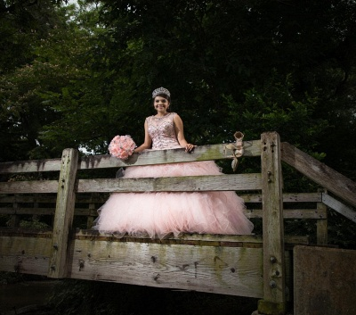 Sleeveless Beading Floor Length Ruffled Tulle Pink Quince Dresses_4