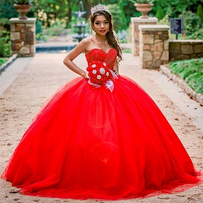 Stylish Sweetheart Beading Appliques Red Quinceanera Dress_1