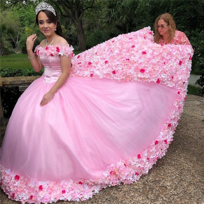 Gorgeous 3-D Floral Off-the-shoulder Brush Train Quinceanera Dresses_3
