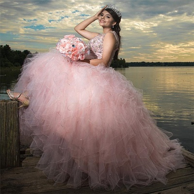 Sleeveless Beading Floor Length Ruffled Tulle Pink Quince Dresses_1