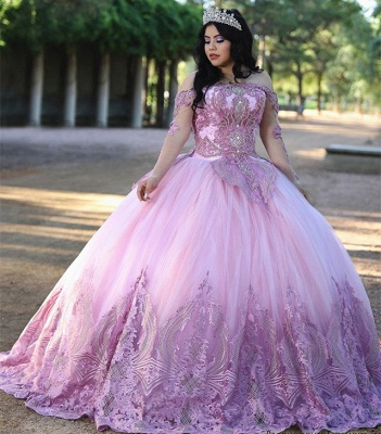 Stylish Ball Gown Off the Shoulder Long Sleeves Quinceanera Dress_2