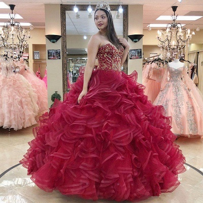 Layered Tulle Sweetheart Strapless Beading Quince Dresses_1