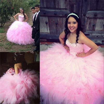 Ruffled Tulle Sweetheart Strapless Pink Ball Gown Quinceanera Dresses_1