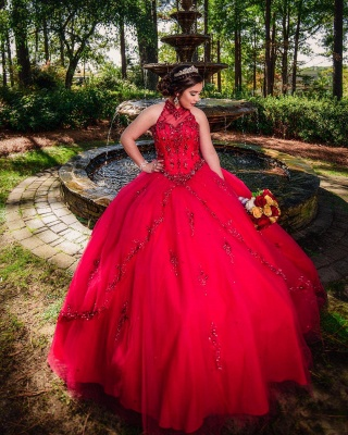 Pretty Ball Gown High-Neck Appliques Sleeveless Red Quinceanera Dress_5