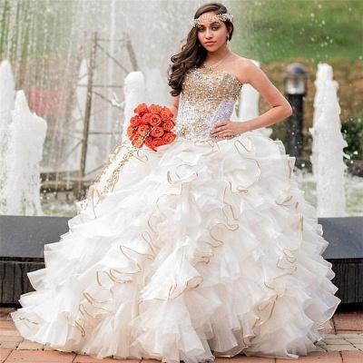 Vestido de fiesta sin tirantes abalorios volantes vestido de quinceañera_1