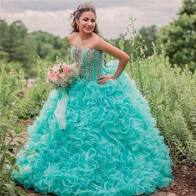 Vestido de fiesta Vestido de novia de quinceañera sin tirantes con volantes_1