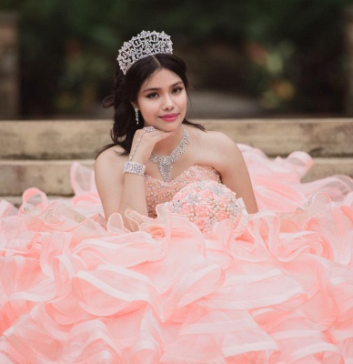 Exquisite Sleeveless Layers Ruffles Pearls Pink Quinceanera Dress_7