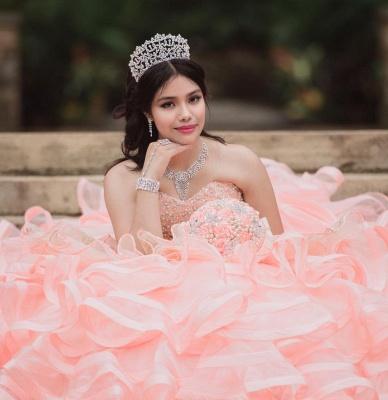 Elegante capa sin mangas con volantes perlas vestido de quinceañera rosa_7