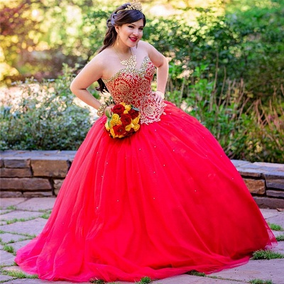 Sweetheart Sleeveless Beading Red Tulle Quinceanera Dress_1