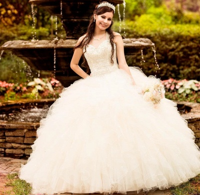 Ball Gown Straps Beading Sweetheart Ruffles Long Quinceanera Dress_2
