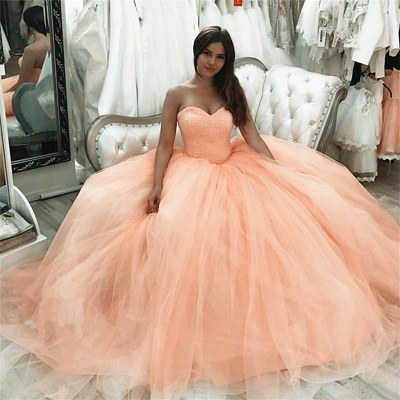 Tulle Strapless Sweetheart Long Quinceanera Dress_2