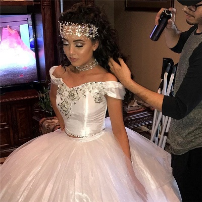 Off-the-shoulder Beading Two-piece Ball Gown White Quinceanera Dresses_2