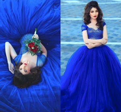 Short Sleeves Sweetheart Royal Blue Tulle Court Train Quince Dresses