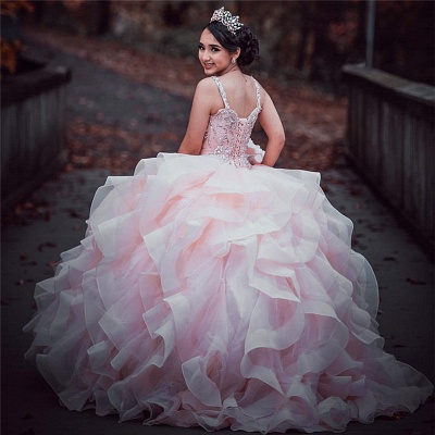 Straps Sweetheart Ruffles Beading Long Quinceanera Dress_2