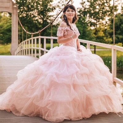 Elegant Lace Spaghettis Layers Pink Organza Quinceanera Dresses