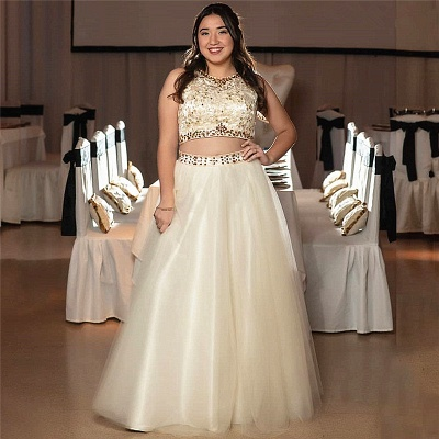 Elegant A-line Two-piece Crystal Appliques Sleeveless Quinceanera Dresses_1