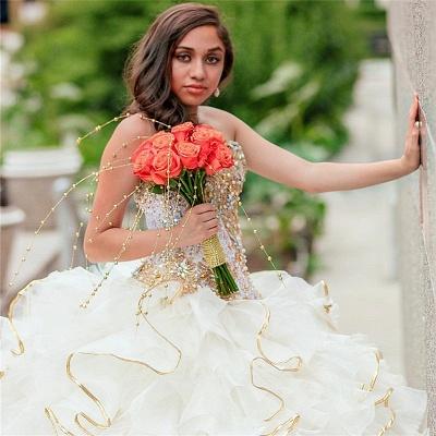 Vestido de fiesta sin tirantes abalorios volantes vestido de quinceañera_2