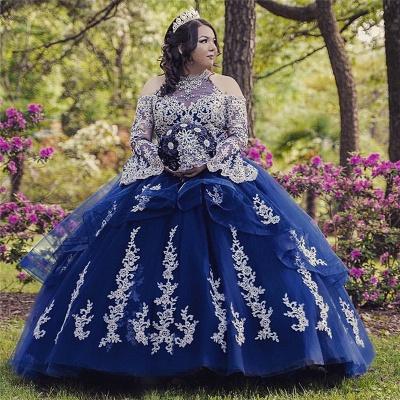 Lace Appliques Open Shoulder Long Sleeves Quince Dresses_1