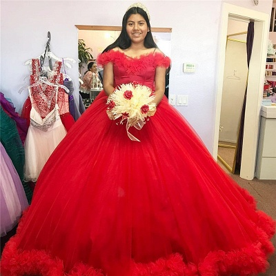 Red Puffy Tulle Ball Gown Off-the-shoulder Long Quinceanera Dresses_1