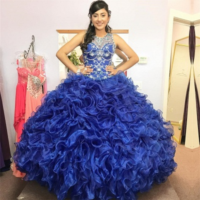 Gorgeous Beading Ruffled Taffeta Sleeveless Blue Quince Dresses_1
