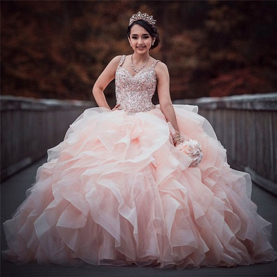 Straps Sweetheart Ruffles Beading Long Quinceanera Dress_1