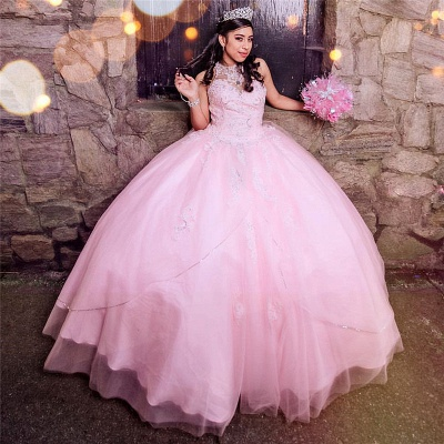 Princess High-Neck Sleeveless Appliques Beadings Pink Quinceanera Dress_2