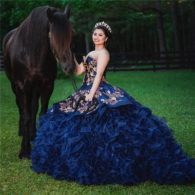Strapless Golden Appliques Ruffles Dark Navy Quince Dresses_1