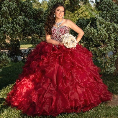 Crystals Sweetheart Strapless Ruffled Burgundy Quince Dresses_2