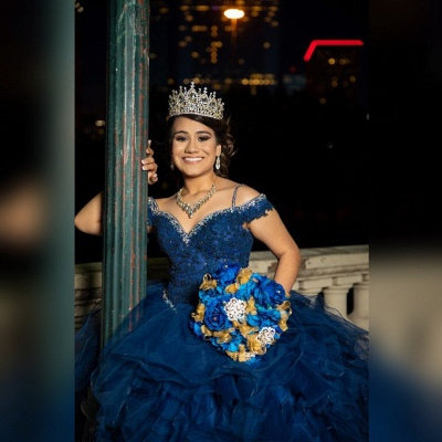 Correas espaguetis Apliques de encaje Crystal Tul Vestidos de quinceañera con volantes_7