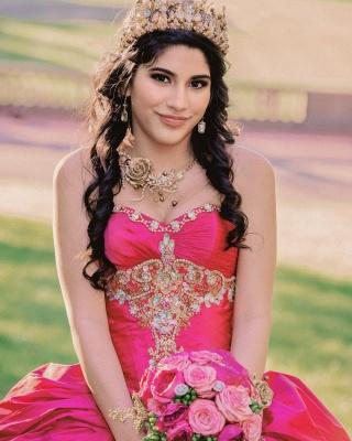 Ball Gown Sweetheart Sleeveless Gold Appliques Hot Pink Quinceanera Dress_3