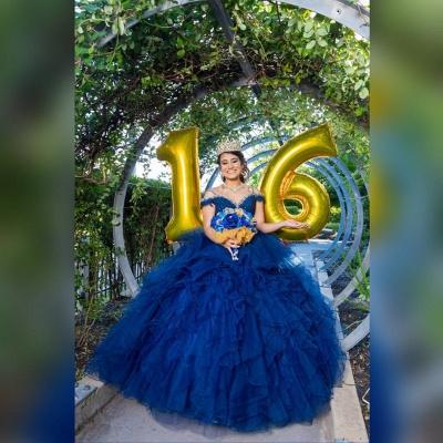 Correas espaguetis Apliques de encaje Crystal Tul Vestidos de quinceañera con volantes_4