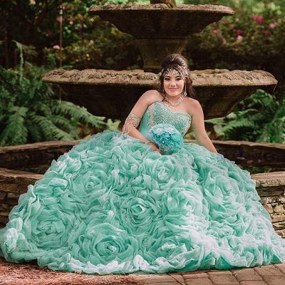 Elegante estampado de flores sin mangas vestido largo de quinceañera_1