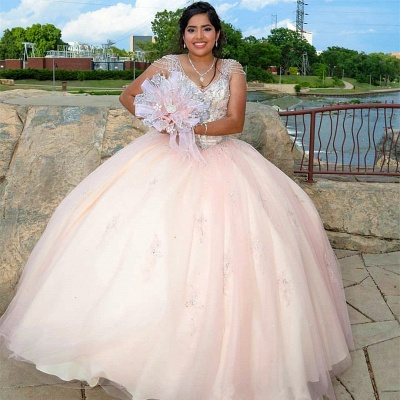 Pretty V-neck Cap Sleeves Beading Long Quinceanera Dresses_2