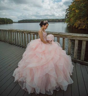 Straps Sweetheart Ruffles Beading Long Quinceanera Dress_3