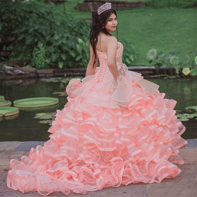 Exquisite Sleeveless Layers Ruffles Pearls Pink Quinceanera Dress_2