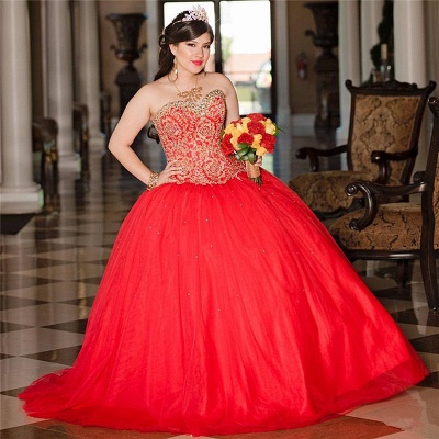 Sweetheart Sleeveless Beading Red Tulle Quinceanera Dress_2