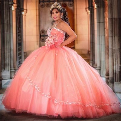Vestido de fiesta de tul de novia sin mangas con abalorios vestido de quinceañera rosa_1