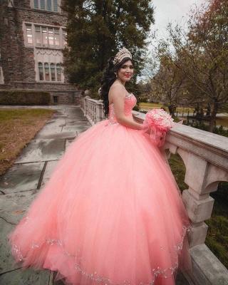 Vestido de fiesta de tul de novia sin mangas con abalorios vestido de quinceañera rosa_3