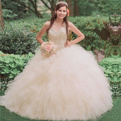 Ball Gown Straps Beading Sweetheart Ruffles Long Quinceanera Dress_1