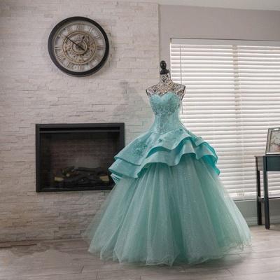 Elegantes cariño lentejuelas vestido de quinceañera con listones_3
