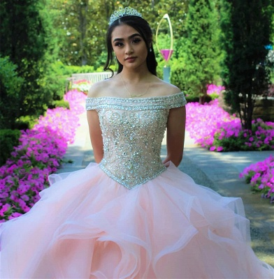 Layered Tulle Crystal Beading Off-the-shoulder Pink Quinceanera Dresses_2