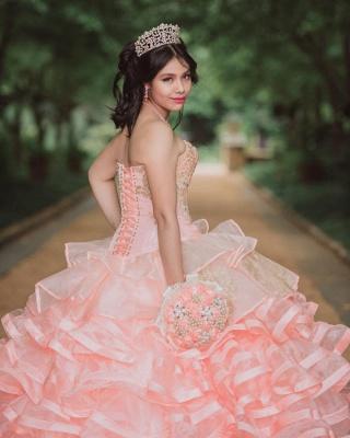 Elegante capa sin mangas con volantes perlas vestido de quinceañera rosa_4